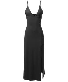 Women's Solid Sexy Cami Strap Side Split Maxi Dress
