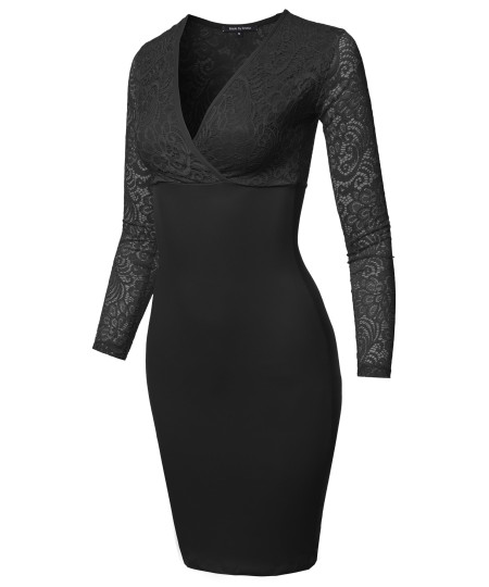 Women's Casual Sexy Solid Stretchable Lace Long Sleeve Plunging  V-neck Midi Dress