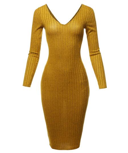 Women's Casual Sexy Soft Brushed Hacci Rib Long Sleeve V-neck Midi Dress