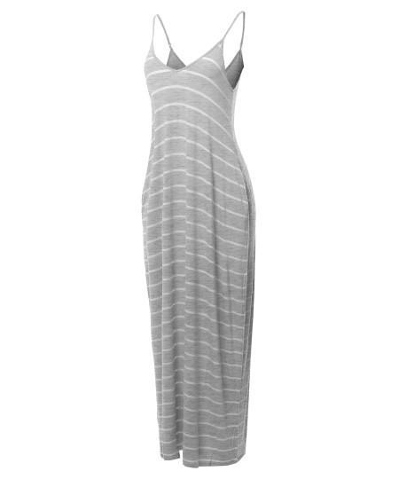 Women's Casual Adjustable Strap Side Pockets Stripe Loose Maxi Dress