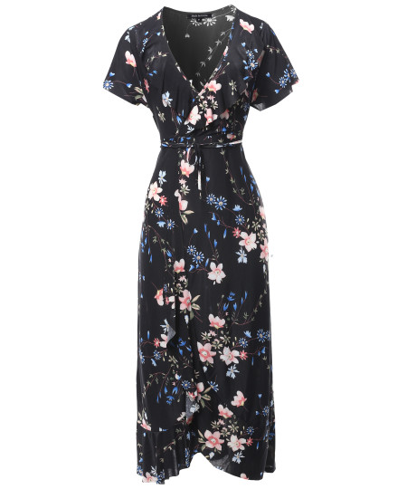 Women's Floral Surplice Wrap Dress with Ruffle Detail