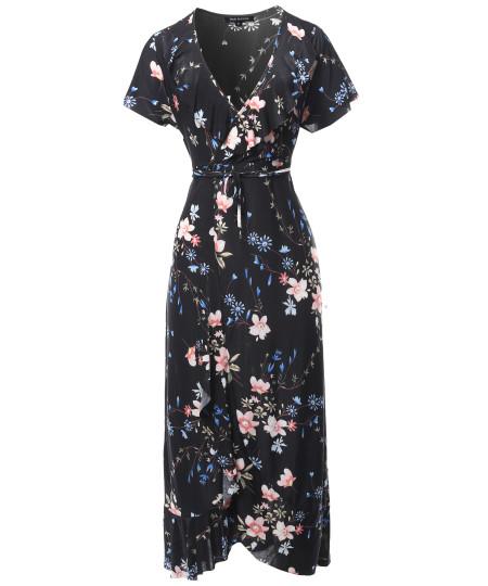 Women's Floral Surplice Wrap Dress with Ruffle Detail