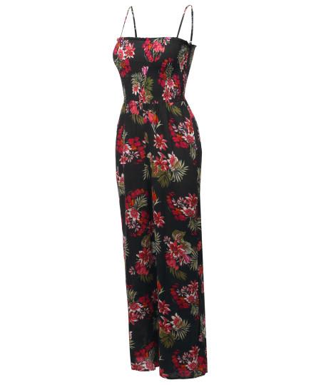 Women's Casual Floral Print Spaghetti Strap Jumpsuit