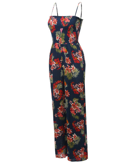 Women's Casual Floral Print Spaghetti Strap Jumpsuit