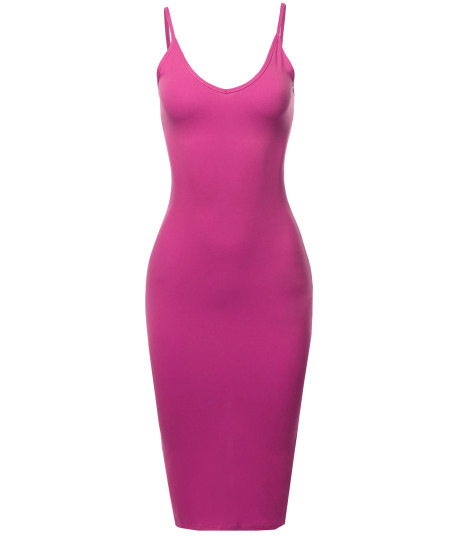 Women's Sexy Solid Bodycon cami dress with back slit