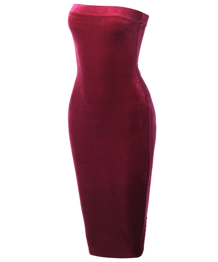 Women's Solid Sexy Velvet Tube Body-Con Midi Dress