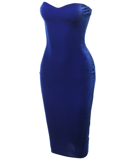 Women's Solid Sexy Velvet Sweetheart Neck Tube Body-Con Midi Dress