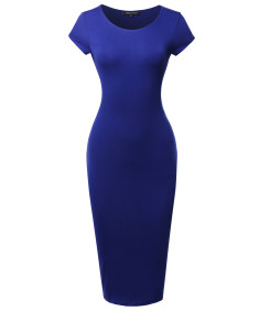 Women's Casual Plain Fully Lined Stretchable Bodycon Sexy Midi Dress