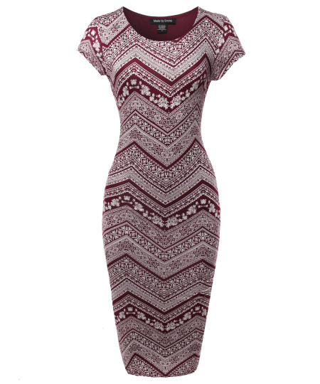 Women's Casual Fully Lined Stretchable Bodycon Sexy Patterned Midi Dress