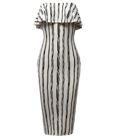 Women's Slim Fit Off-Shoulder Pinstriped Crepe Tube Midi Dress
