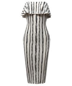 Women's Slim Fit Off-Shoulder Pinstriped Crepe Tube Midi Dress