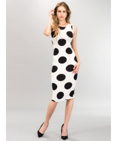 Women's Sexy Premium Stretch Fabric Allover Polka Dot Bodycon Tank Midi Dress