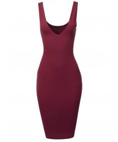 Women's Solid twoway Body-con Midi Dress