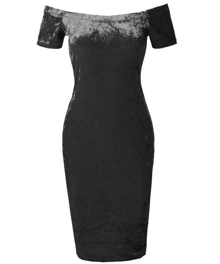 Women's Sexy Off Shoulder Ice Velvet Body-Con Midi Dress