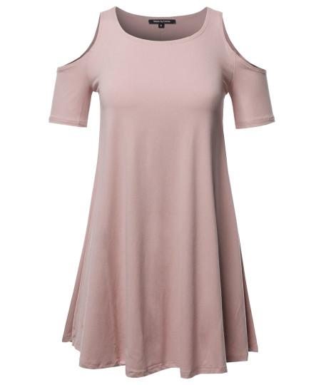 Women's Solid Cold Shoulder Short Sleeves Swing Mini Dress