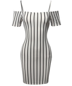Women's Pinstripe Print Spaghetti Strap Off-Shoulder Body-Con Mini Dress