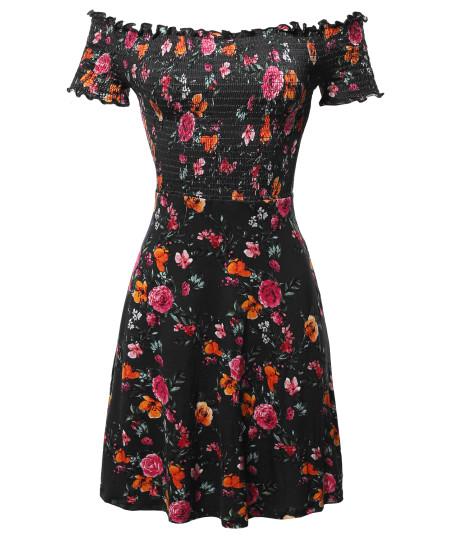 Women's Floral Off-Shoulder Smocking Mini Dress