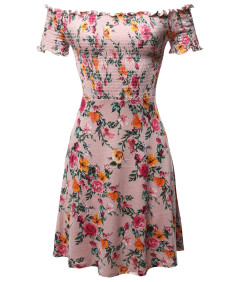 Women's Floral Off-Shoulder Smocking Mini Dress