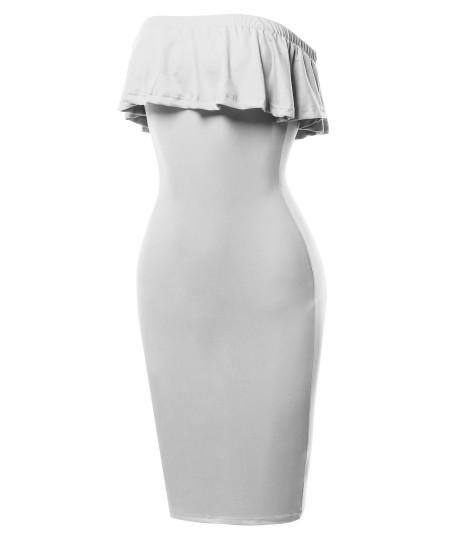 Women's Sexy Off Shoulder Ruffle Tube Top Flounce Dress