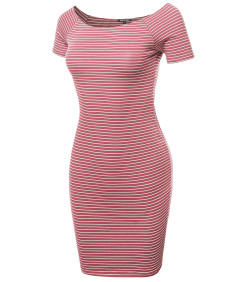 Women's Sexy Stripe Print Off Shoulder Bodycon Mini Dress