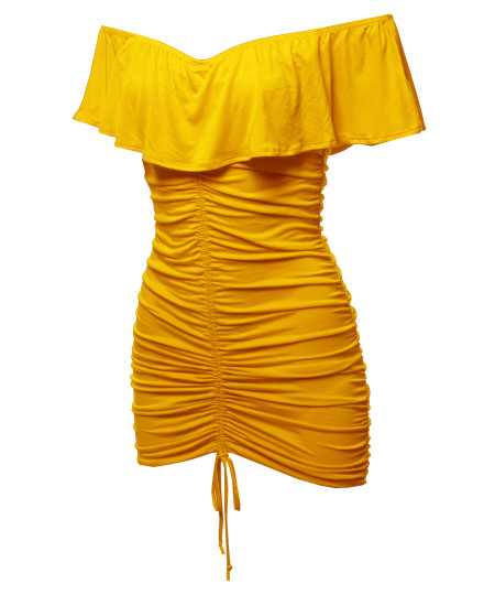 Women's Sexy Elegant Stretchable Bodycon Front Drawstring Ruffled Off Shoulder Dress