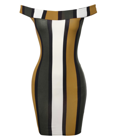 Women's Casual Sexy Soft Stretchable Sleeveless Striped Off Shoulder Mini Dress