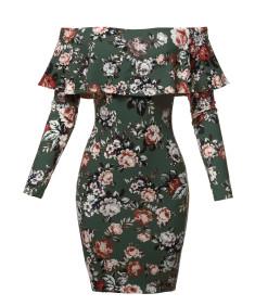 Women's Casual Sexy Ruffle Off Shoulder Brushed Dty Long Sleeve Dress