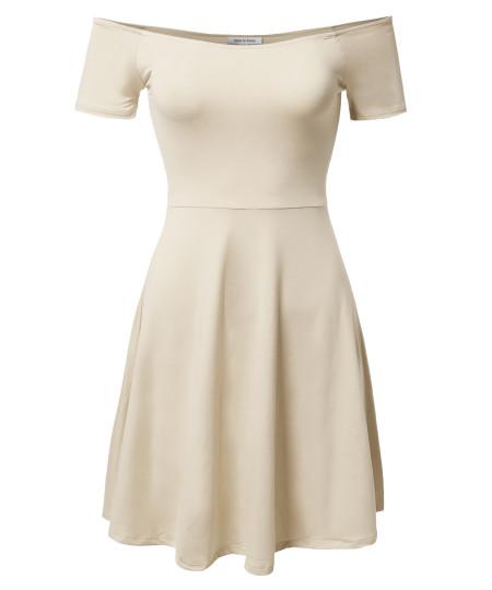 Women's Solid Tight Short Sleeve or Off Shoulder Sheath Princess Dress