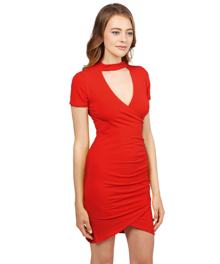 Women's Solid Wrap Shirring Choker Neck Sexy Dress
