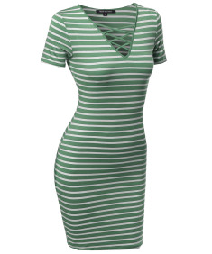 Women's Lattice-Front Stripe Short Sleeves Dress