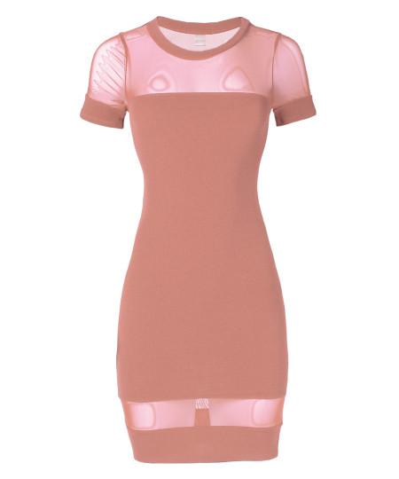 Women's Solid Mesh Short Sleeve Crew Neck Sexy Bodycon Dress