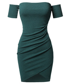 Women's Sexy Off Shoulder Over-Lapped Body-Con Mini Dress
