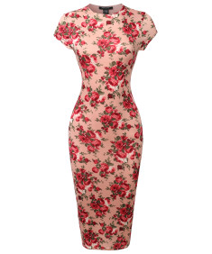 Women's Casual Floral Print Cap Sleeves  Body-Con Midi Dress
