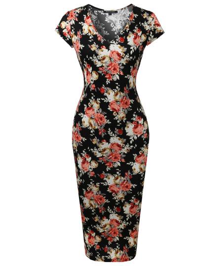 Women's Casual Floral Print Cap Sleeves  Body-Con Midi Dress