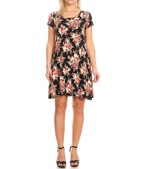 Women's Casual Short Sleeves Loose Flare Floral Mini Dress