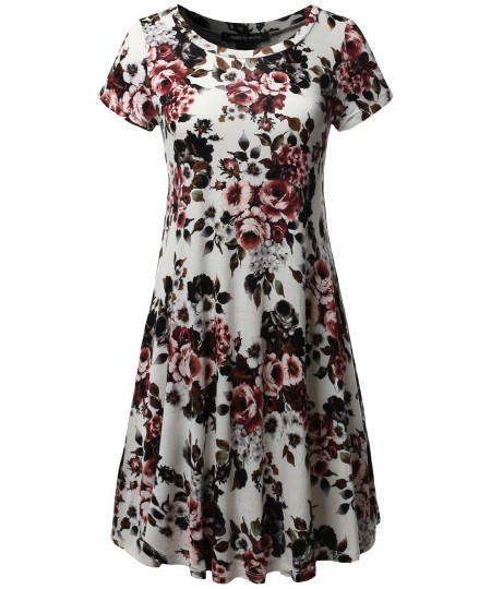 Women's Casual Short Sleeve T-Shirt Loose Flare Patterned Dress