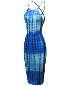 Women's Casual Sexy Sleeveless Tie Dye with Crossed Strap Back Midi Dress