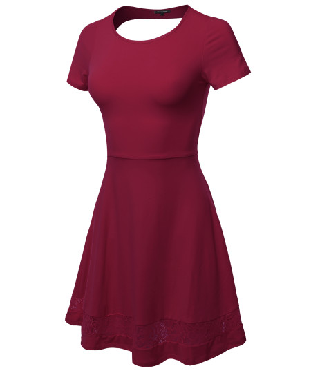 Women's Casual Cut Off Back with Lace Trim Short Sleeve Flare Dress