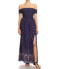 Women's Casual Print Off Shoulder Short Sleeve Flare Style With Slit Smocking Maxi Dress