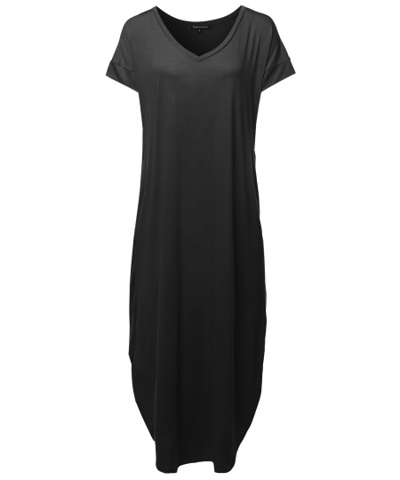 Women's Sexy Premium Fabric Short Sleeve Side Slits and Pockets Loose Long Maxi Dress