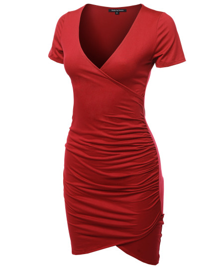 Women's Casual Sexy Stretchable Short Sleeve Solid Bodycon Mini Dress