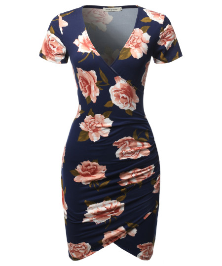 Women's Casual Sexy Stretchable Short Sleeve Flower Printed Bodycon Dress