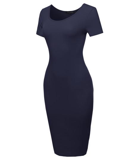 Women's Basic Short Sleeve Scoop Neck Stretch Midi Dress