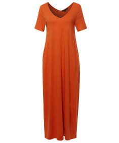 Women's Premium V-neck Short Sleeve Maxi Dress With Side Pockets