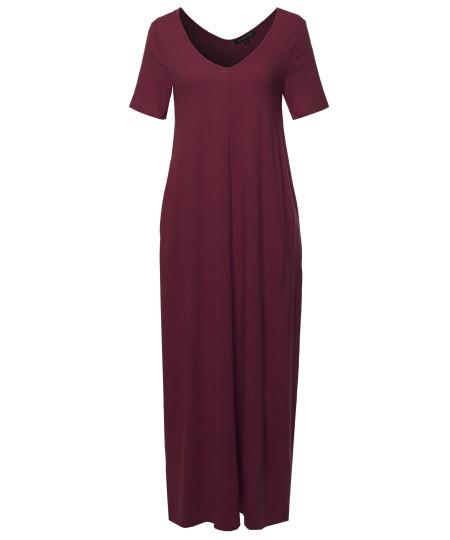 Women's Premium V-neck Short Sleeve Maxi Dress With Side Pockets