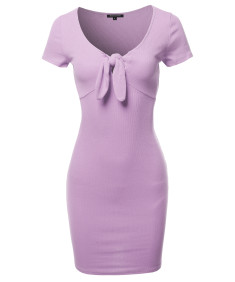 Women's Solid V-neck Front Knot Casual Dress