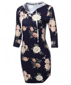 Women's Casual Print 3/4 Sleeve Hoodie Dress with Kangaroo Pocket