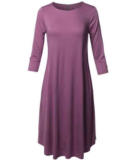 Women's Casual Solid Viscose 3/4 Sleeve Round Neck Midi Dress