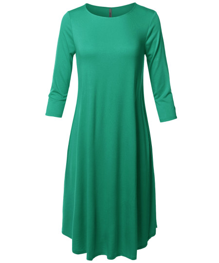 Women's Casual Solid Viscose 3/4 Sleeve Round Neck Midi Dress