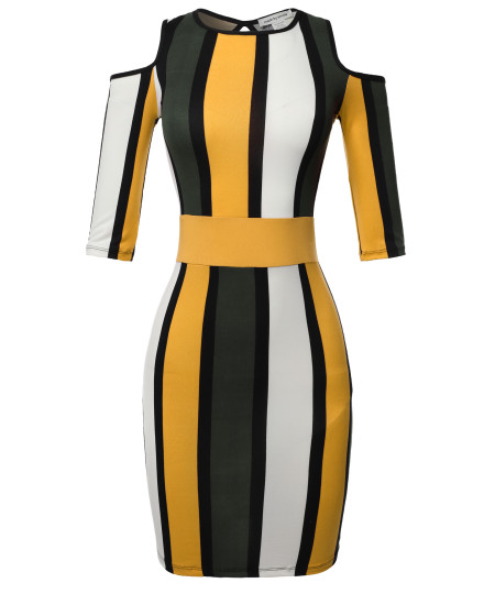 Women's Sexy Premium Fabric Stretch Striped Cut out Open Shoulder Half Sleeve Dress